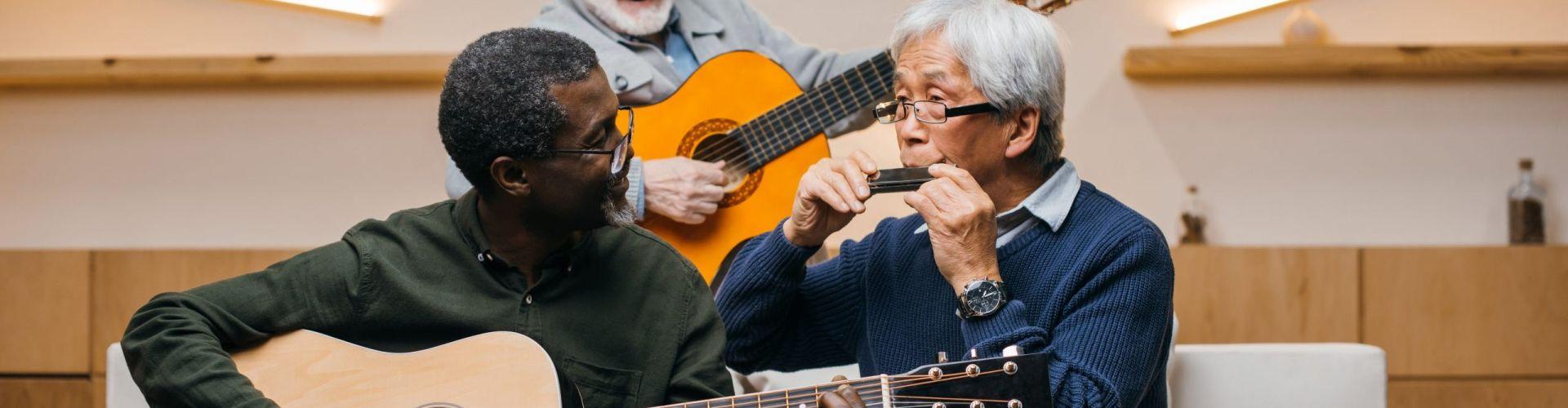 Three men making music together.